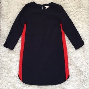 Navy dress with Red stripe detail